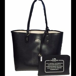 Coach Black/Chalk Reversible City Tote